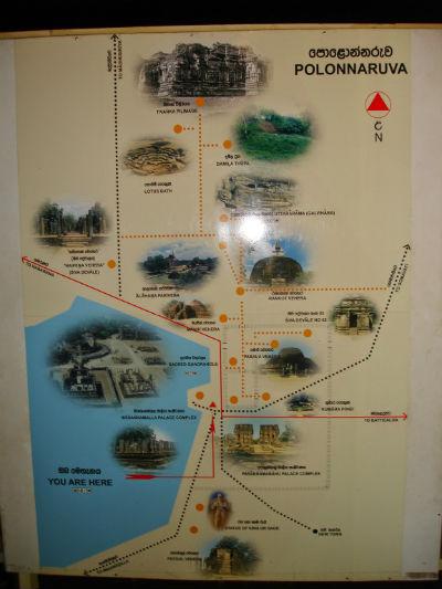 Kort over seværdighederne i Polonnaruwa
